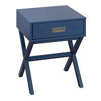 Tmavě modrý noční stolek Marckeric Fred
