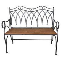 Tmavě šedá kovová zahradní lavice s dřevěným sedátkem Ewax Wood