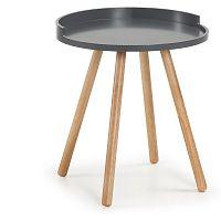 Tmavě šedý odkládací stolek s dřevěným podnožím La Forma Bruk