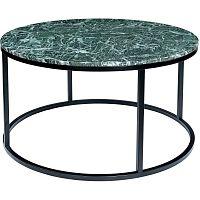 Tmavě zelený mramorový konferenční stolek s černým podnožím RGE Accent, ⌀85cm