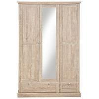 Třídveřová šatní skříň  v dubovém dekoru se zrcadlem Støraa Bruce