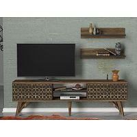 TV komoda v dekoru ořechového dřeva Fina