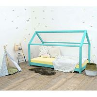 Tyrkysová dětská postel bez bočnic ze smrkového dřeva Benlemi Tery, 70 x 160 cm