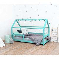 Tyrkysová dětská postel s bočnicemi ze smrkového dřeva Benlemi Tery, 90 x 190 cm