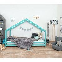 Tyrkysová dětská postel z lakovaného smrkového dřeva Benlemi Sidy, 120 x 190 cm