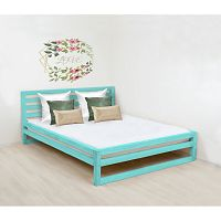 Tyrkysově modrá dřevěná dvoulůžková postel Benlemi DeLuxe, 200x160cm