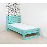 Tyrkysově modrá dřevěná jednolůžková postel Benlemi DeLuxe, 190x120cm