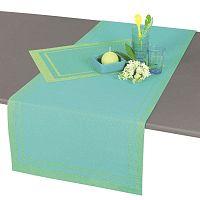 Tyrkysově modrý běhoun na stůl Antic Line, 140 x 46 cm