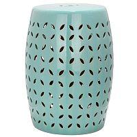 Tyrkysově modrý keramický stolek vhodný do exteriéru Safavieh Lattice Petal, ø33cm