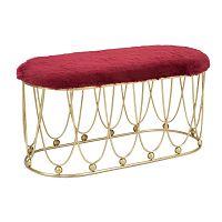 Vínově červená polstrovaná lavice s železnou konstrukcí ve zlaté barvě Mauro Ferretti Amelia