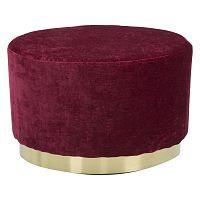 Vínově červený puf s podstavcem ve zlaté barvě Mauro Ferretti Ovale
