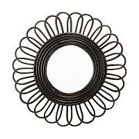 Zrcadlo v černém proutěném rámu Bloomingville, ⌀48cm