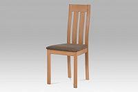 Autronic Dřevěná židle BC-2602 BUK3, buk/potah hnědý