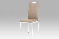 Autronic Jídelní židle AC-1230 CAP, koženka cappuccino / bílý lak