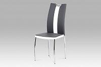 Autronic Jídelní židle AC-2202 GREY, koženka šedá+bílá/chrom