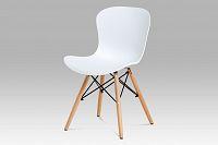 Autronic Jídelní židle AUGUSTA WT, bílý plast / natural