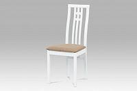 Autronic Jídelní židle BC-2482 WT, masiv buk, barva bílá, potah béžový