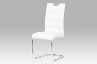 Autronic Jídelní židle, chrom / koženka bílá HC-581 WT