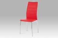Autronic Jídelní židle, chrom/koženka červená, AC-1295 RED