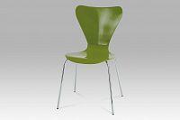 Autronic Jídelní židle, chrom / překližka zelená (lesk), C-180-5 GRN