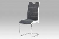 Autronic Jídelní židle HC-582 GREY2, šedá/bílá