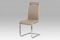 Autronic Jídelní židle HC-998 CAP, koženka cappuccino/broušený nerez