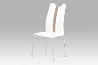 Autronic Jídelní židle, koženka bílá / chrom, AC-1296 WT