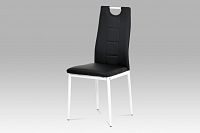 Autronic Jídelní židle koženka černá / bílý lak AC-1230 BK