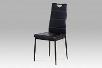 Autronic Jídelní židle, koženka černá / černý lak AC-1220 BK