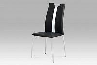 Autronic Jídelní židle, koženka černá / chrom, AC-1296 BK
