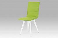 Autronic Jídelní židle, koženka limetková / vysoký lesk bílý, B829 LIM1