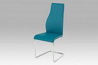 Autronic Jídelní židle, koženka petrolejová / chrom, AC-1955 PET