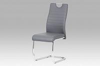 Autronic Jídelní židle, koženka šedá / chrom DCL-418 GREY