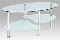 Autronic Konferenční stolek GCT-301 MIL1, čiré sklo / mléčné sklo / leštěný nerez