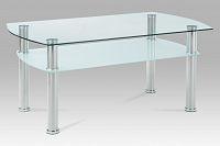 Autronic Konferenční stolek GCT-303 CLR1, čiré sklo / mléčné sklo / leštěný nerez