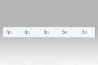 Autronic Nástěnný věšák - 5 háčků, bílý akrylát / chrom, GC3503-5 WT