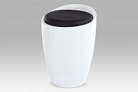 Autronic Taburet s úložným prostorem, plast bílý / sedák černá PU, HF-705 WT