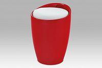 Autronic Taburet s úložným prostorem, plast červený / sedák bílá PU, THF-705 RED