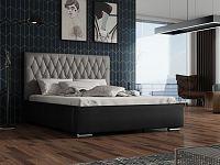 Čalouněná postel TOKIO 160x200 cm, šedá látka/černá ekokůže