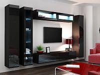 CAMA *Obývací stěna VIGO 6, černá/černý lesk
