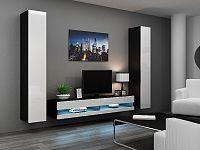 CAMA Obývací stěna VIGO NEW 4, černá/bílý lesk