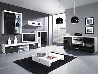 CAMA *SAMBA C, obývací stěna, bílá/černý lesk
