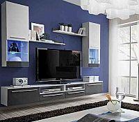 Casarredo Evora obývací stěna, antracit lesk/bílá