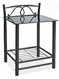 Casarredo Noční stolek ET-920, černý kov + sklo