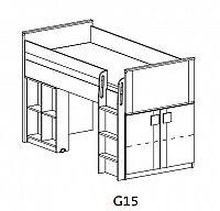 Dolmar GIMMI, patrová postel se stolkem G15,  dub santana/červená
