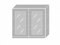 Extom EMPORIUM, skříňka horní prosklená W3S 80, korpus: lava, barva: white