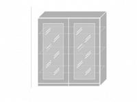 Extom EMPORIUM, skříňka horní prosklená W4S 90, korpus: bílý, barva: light grey stone