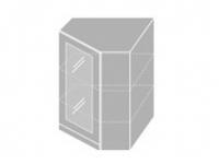 Extom EMPORIUM, skříňka horní rohová prosklená W 10S/60, korpus: grey, barva: grey stone