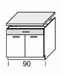 Extom KAMDUO, dolní skříňka DUO DS9/1+PD, zebrano/hruška