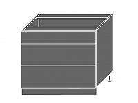 Extom PLATINUM, skříňka dolní D3m 90, korpus: grey, barva: white stripes